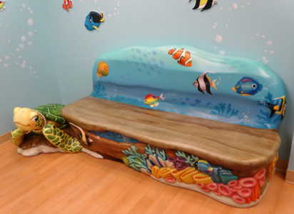 6ft Underwater Bench with Turtle for Cardinal Glennon