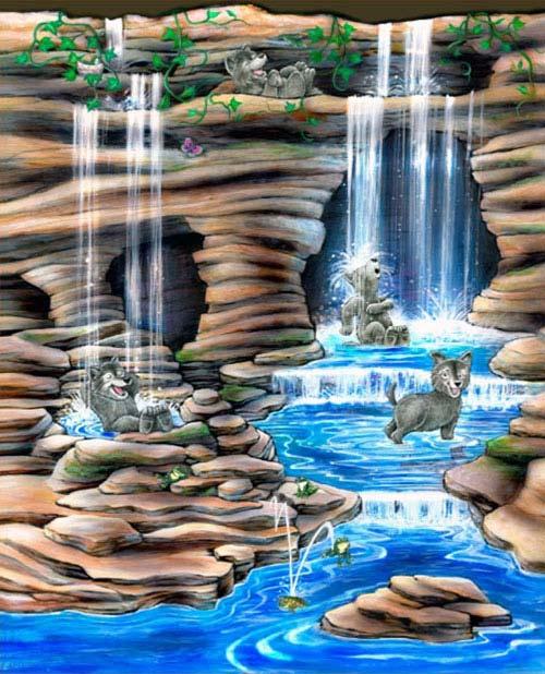 Wolf Den Wallcovering Illustration for Great Wolf Resort