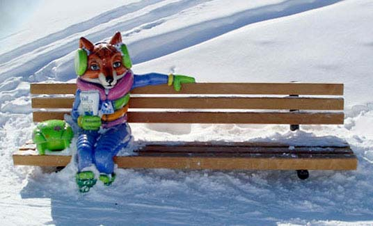 Custom 5ft Fab Fox Bench at Vail Ski Resort