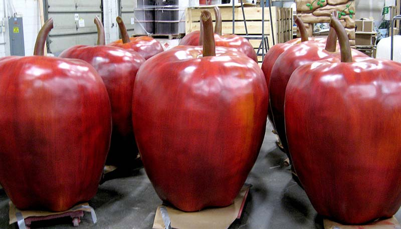 4ft and 5ft Apple Statues for Kings Dominion Theme Park