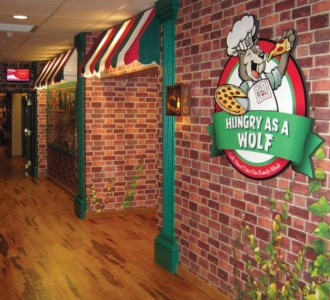 Main Street Wallcovering and Decor for Great Wolf Resort