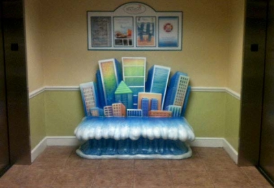 5.5ft long Cityscape Bench for BeachPlace Towers