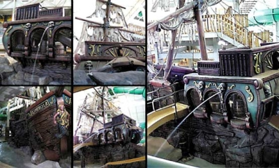 45ft Pirate Ship Water Feature for Treasure Island Waterpark