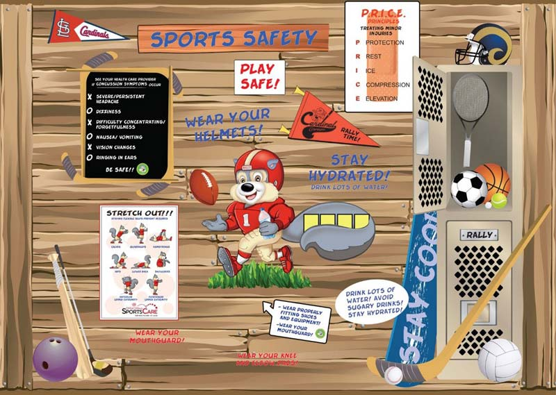 Safety Treehouse Sports Wall Mock-up for Cardinal Glennon