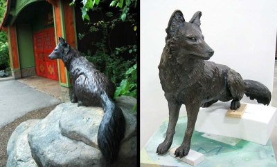 5ft Dhole Bronze for the Minnesota Zoo