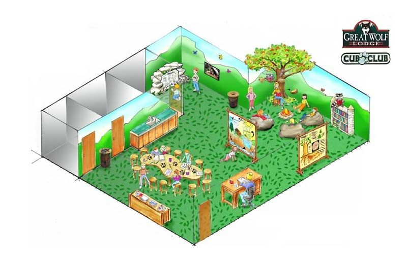 Cub Club Isometric Drawing for Great Wolf Resort