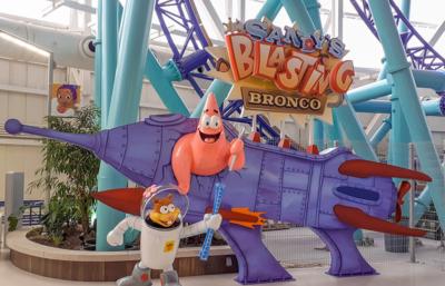 25' Rocket Ship, Sandy & Patrick Sculptures for Ride Entrance Photo Opp