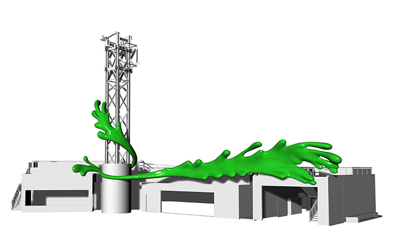 125' Long Nickelodeon Slime Streak Ride Entrance Sculpture and Sign