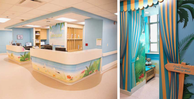Themed Nurses' Station and Reading Nook for Cardinal Glennon