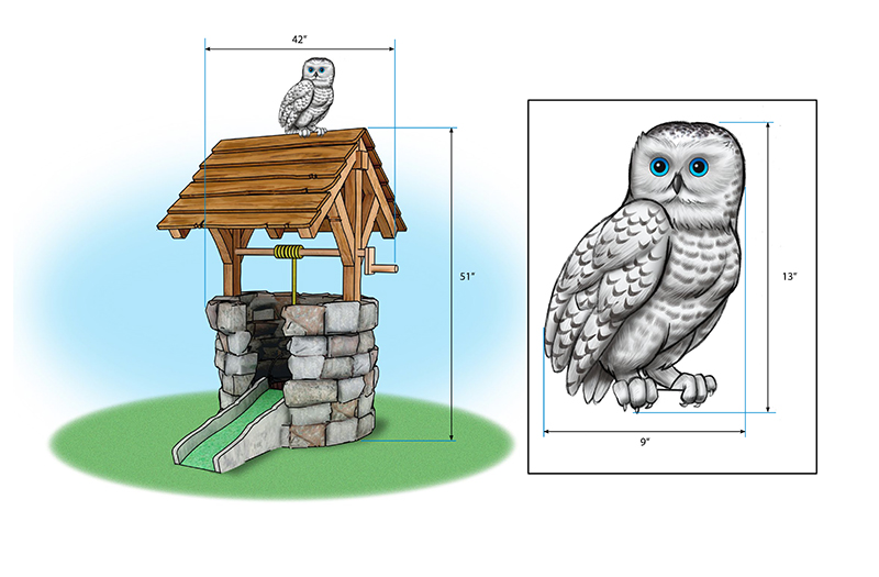 Owl and Wishing Well Mini-Golf Feature
