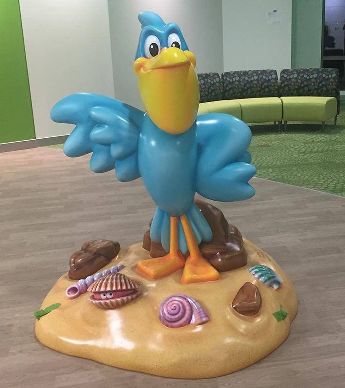 """5' Floor Greeter Photo Opp Sculpture of """"Scoop"""" Pelican Character"""