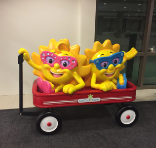 5' Sparkle and Sunny Mascot Characters in Wagon Photo Opp
