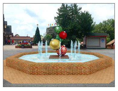 Holiday World Christmas Tree Ornament Water Feature Sculpture