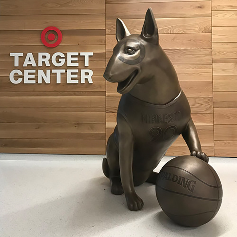 Custom 5.5 ft Basketball Bullseye Bronze for MN Timberwolves