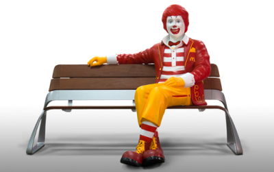 Custom McDonald's 5ft Ronald Statue Bench