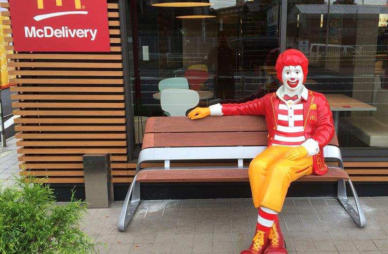 Custom McDonald's 5ft Ronald Statue Bench
