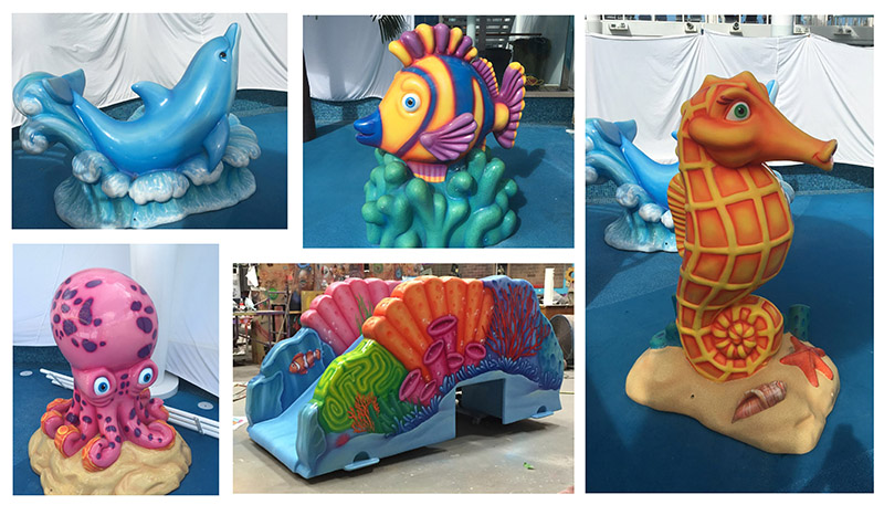Sea Creature Themed Pool Deck Sculptures for Norwegian Cruise Lines
