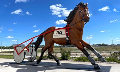 Harness Racing Horse and Sulky Photo Opp Sculpture