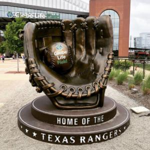 Texas Rangers Faux-Bronze Baseball Glove and Ball Photo Opp