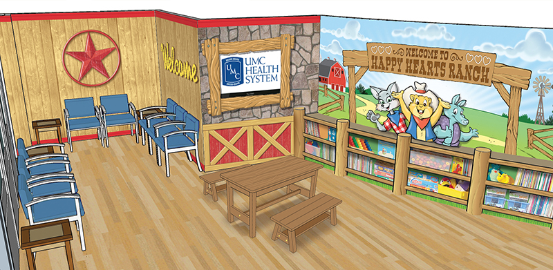 Ranch-Themed Waiting Room for Children's Oncology Department