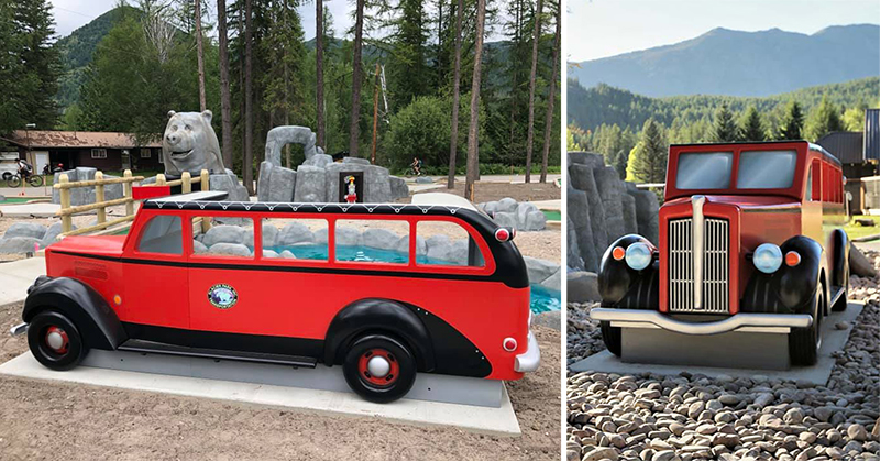 12' Vintage Red Jammer Tour Bus Photo Opp